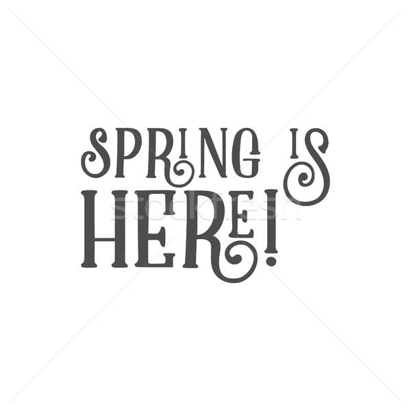 Húsvét felirat tavasz itt kívánság címke Stock fotó © JeksonGraphics
