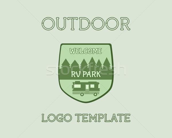 Kaland szabadtér turizmus utazás logo klasszikus Stock fotó © JeksonGraphics