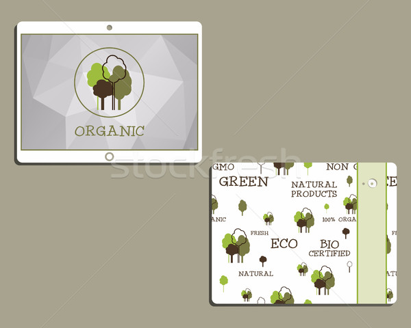 Corporate identity template design for natural and organic shop products. Mobile device, tablet. Wit Stock photo © JeksonGraphics