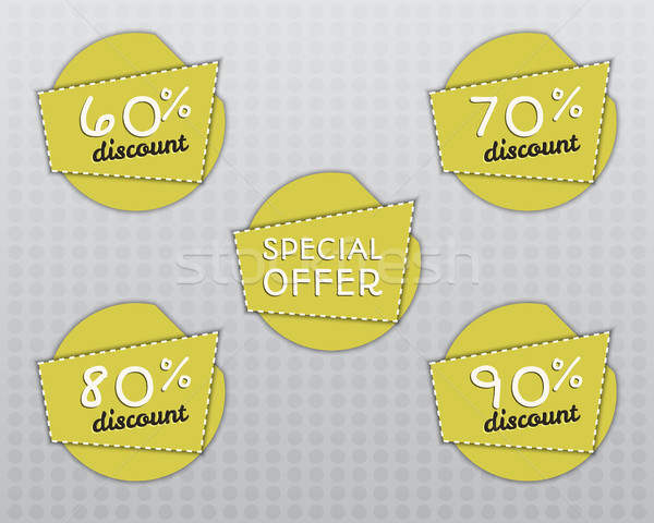 Sale stickers and labels with Sale up to 60 - 90 percent text on yellow circle stickers and labels.  Stock photo © JeksonGraphics