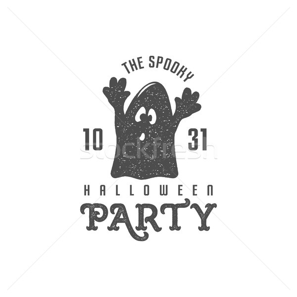 halloween label template. text - spooky halloween party. With cute ghost and retro grunge effect. B Stock photo © JeksonGraphics
