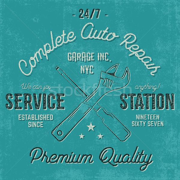 Service Station Jahrgang Label Design Grafiken Stock foto © JeksonGraphics