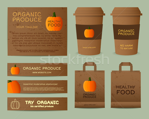 Natural business corporate identity design with pumpkin. Branding your organic company. Paper bag, c Stock photo © JeksonGraphics
