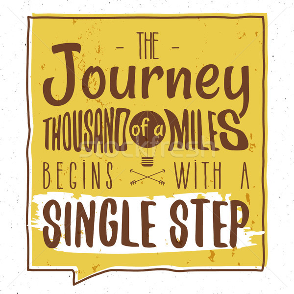 Stock photo: Retro typography Background with typographical quote - A Journey of a thousand miles begins with a s