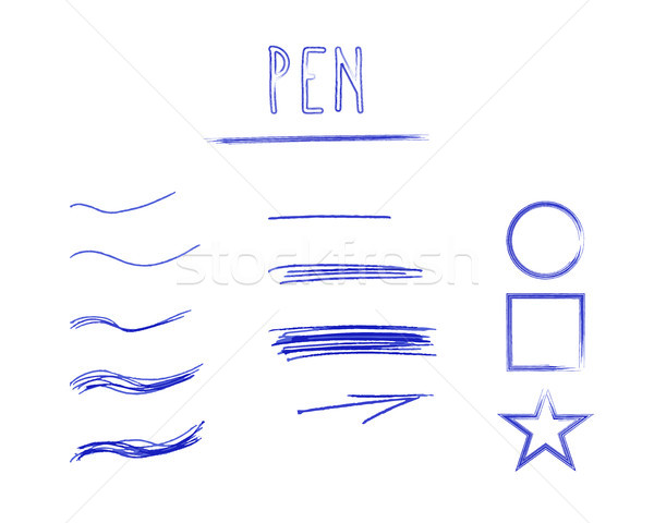 Stock photo: Set of Hand Drawn Doodle Sketchy Grunge Pen Brush Lines