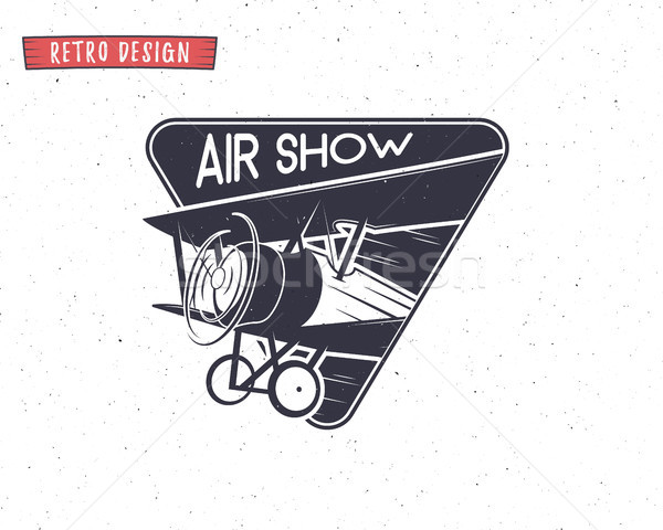 Stock photo: Airshow emblem. Biplane label. Retro Airplane badges, design elements. Vintage prints for t shirt. A