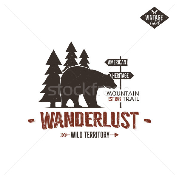 Vintage wild emblem. Retro wilderness patch. Typography and rough style. wild logo or badge with let Stock photo © JeksonGraphics