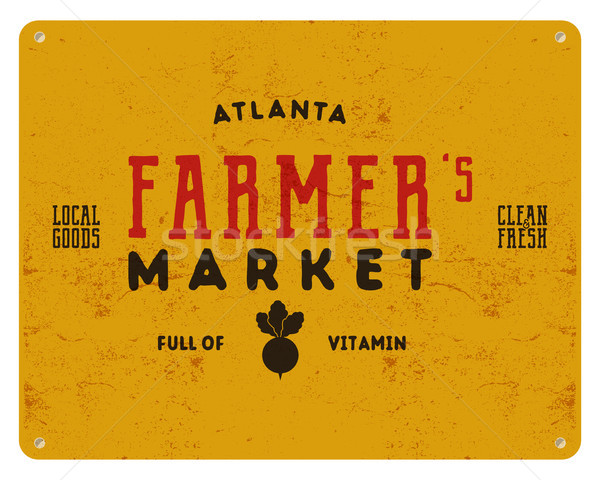 Agricultor mercado tipografía anunciante retro alimentos orgánicos Foto stock © JeksonGraphics