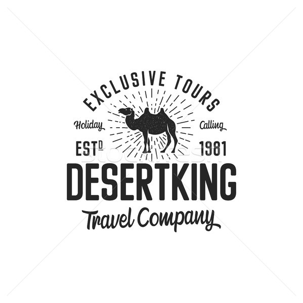 fd347830876 #8870402 Camel logo template concept. Travel company logotype. Desert king  text quote. Exclusive tours vacati by ...