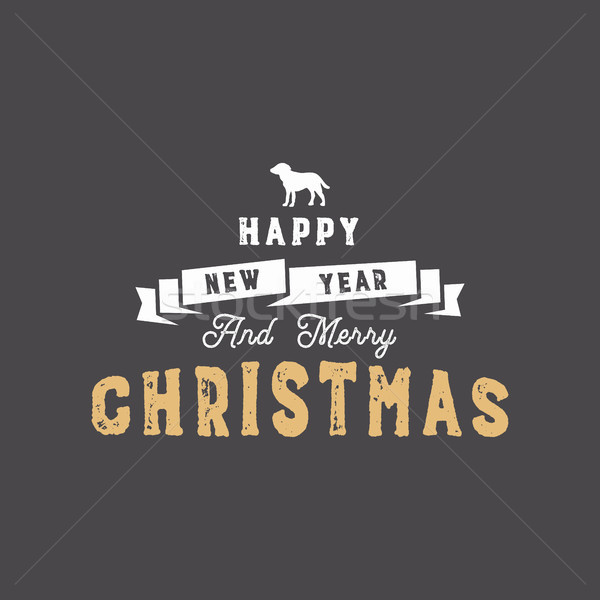 Merry Christmas typography quote, wishe. Ribbon the symbol of new year - dog and xmas noel elements, Stock photo © JeksonGraphics