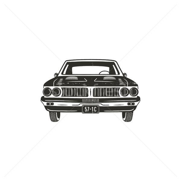 Vintage dibujado a mano muscle car retro coche símbolo Foto stock © JeksonGraphics