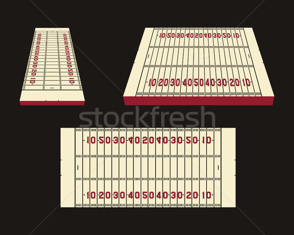 Stock photo: Detailed illustration of an American Football fields with different perspective. Usa sport elements