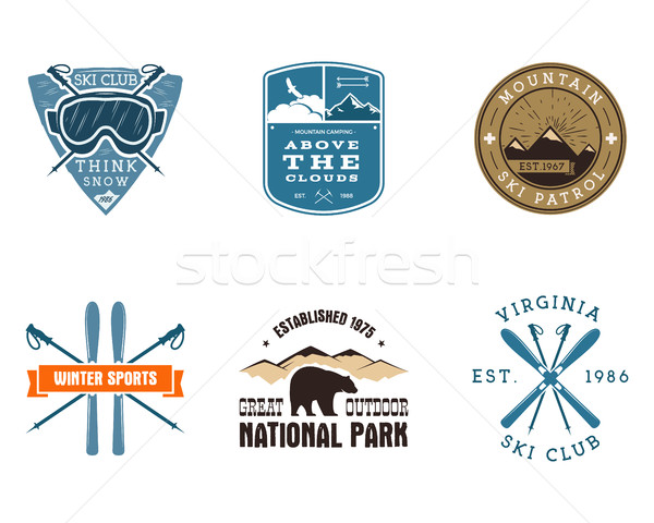 Set of Ski Club, National Park Labels. Vintage Mountain winter camping explorer badges. Outdoor adve Stock photo © JeksonGraphics