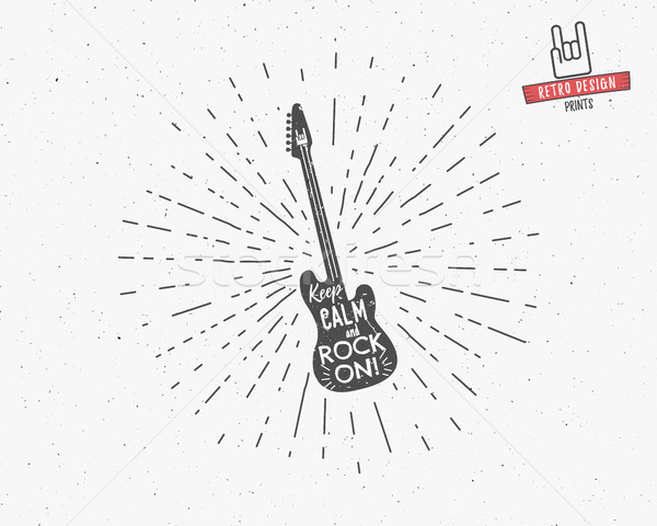 Vector vintage guitar label with sunburst, typography elements, text. Grunge rock and roll style. Gu Stock photo © JeksonGraphics