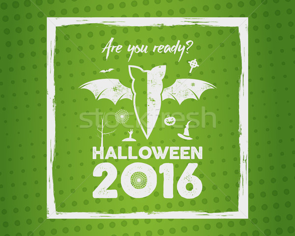 Happy Halloween 2016 Poster. Are you ready lettering, brush frame and halloween holiday symbols - ba Stock photo © JeksonGraphics