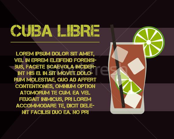 Cuba Libre cocktail with text description. Modern design. On stylish Cuba flag background. Vector Stock photo © JeksonGraphics