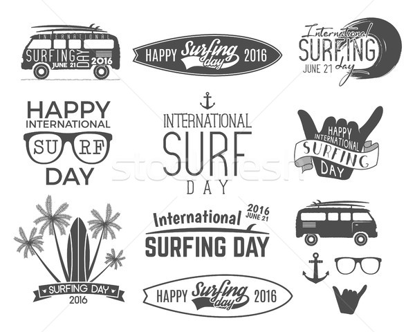 Summer surfing day graphic elements. Vacation typography emblems set. Surfer party with surf symbols Stock photo © JeksonGraphics