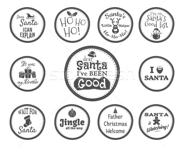 Christmas Badge and Design Elements with funny signs, quotes for kids. Monochrome New Year labels, l Stock photo © JeksonGraphics