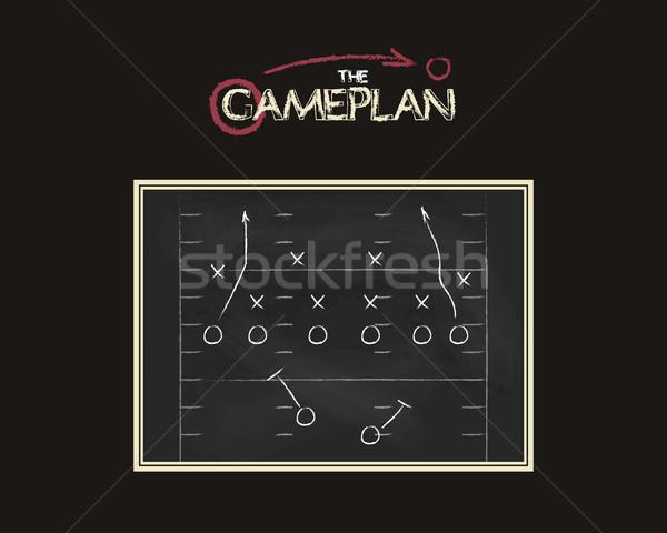 Amerikan futbol sahası oyun plan tahta kara tahta Stok fotoğraf © JeksonGraphics
