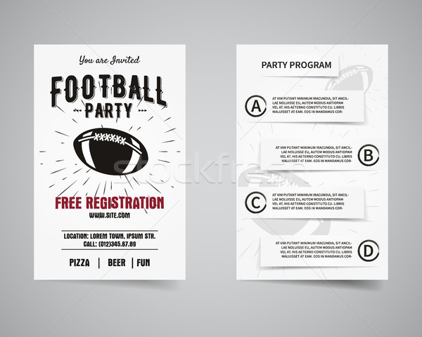 American football party back and front flyer template design. Invitation template. Usa Sport brand i Stock photo © JeksonGraphics