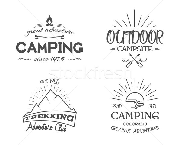 Retro badges and label logo graphics collection. Camping emblems, travel insignia. Monochrome vintag Stock photo © JeksonGraphics