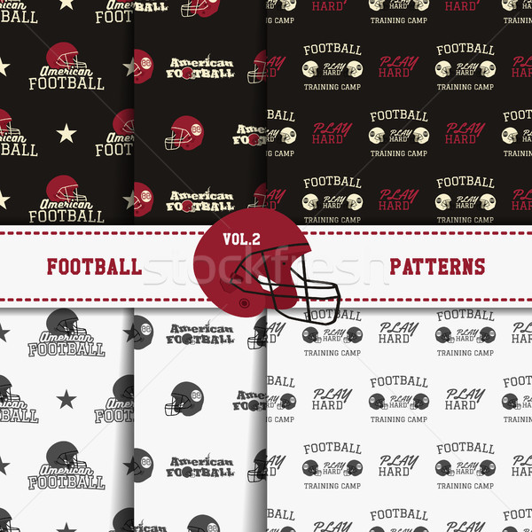Set of american football patterns. Usa sports seamless background collection. Sport wallpaper with h Stock photo © JeksonGraphics