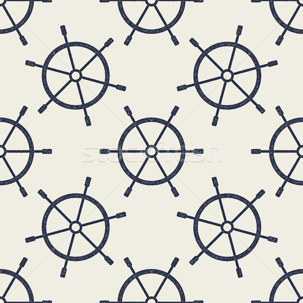 Seamless pattern with hand drawn steering wheels. Retro nautical wallpaper design. Vintage effect ba Stock photo © JeksonGraphics