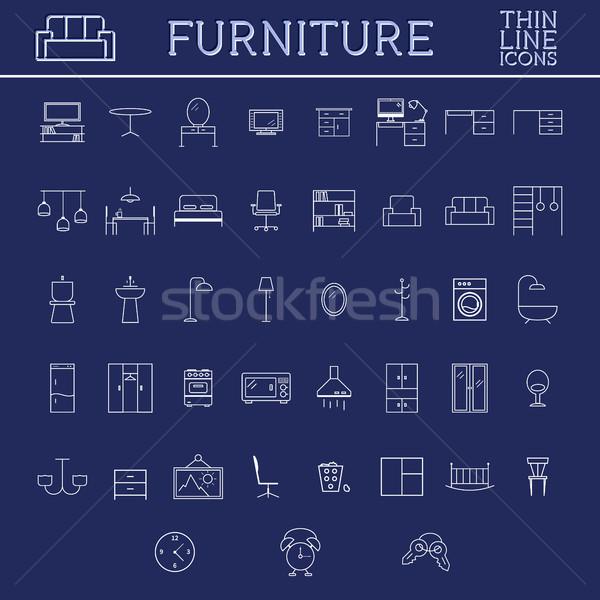 Ingesteld meubels schets iconen dun lijn Stockfoto © JeksonGraphics