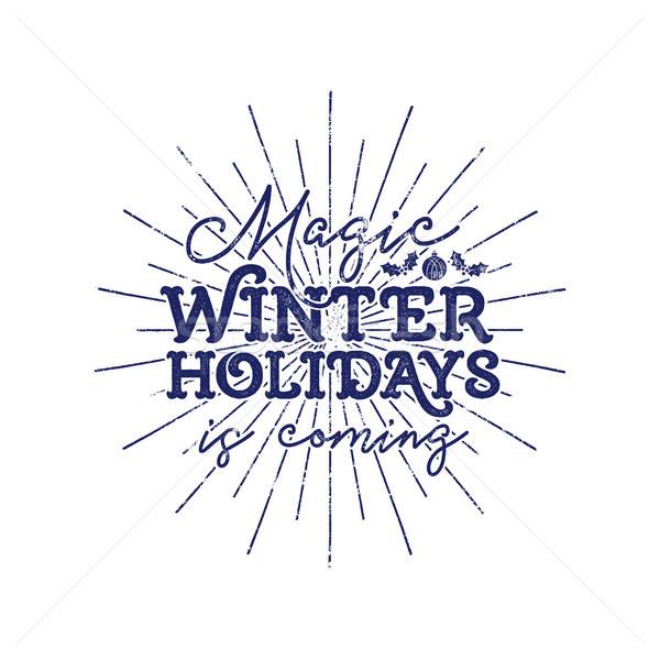 Magic winter holiday typography label. Retro photo overlay, badge. holiday lettering illustration. X Stock photo © JeksonGraphics