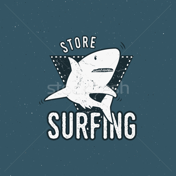 Surfing store emblem design. Shark on a triangle sheld. Retro rough style. Surfing logo template iso Stock photo © JeksonGraphics