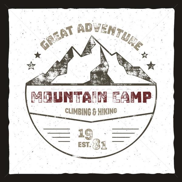 Mountain camp poster. Outdoor adventures logo, retro colors. Graphic print design, tee shirt prints  Stock photo © JeksonGraphics