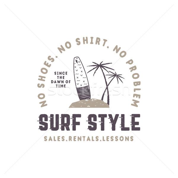 Szörf stílus klasszikus címke nyár szörfözik Stock fotó © JeksonGraphics