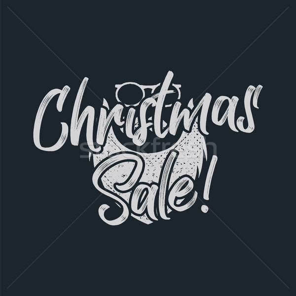 Christmas sale lettering and typography elements with santa claus beard. Holiday Online shopping typ Stock photo © JeksonGraphics