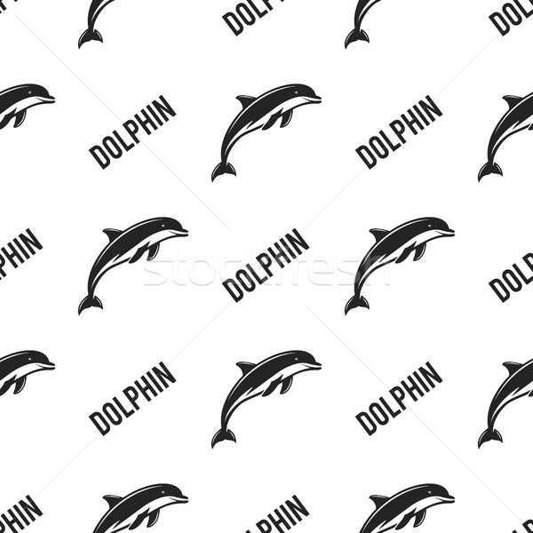 Dolphin seamless with typography sign. Wild animal wallpaper. Stock vector pattern isolated on white Stock photo © JeksonGraphics