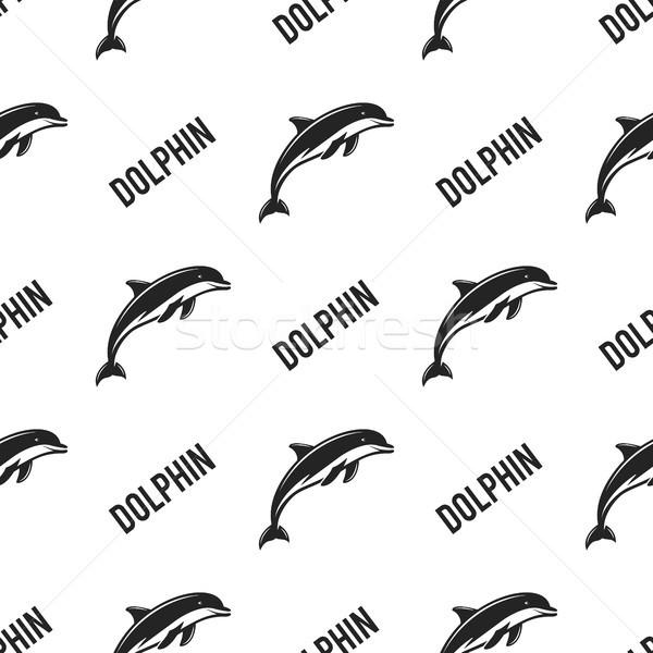 Delfin végtelenített tipográfia felirat vadállat tapéta Stock fotó © JeksonGraphics