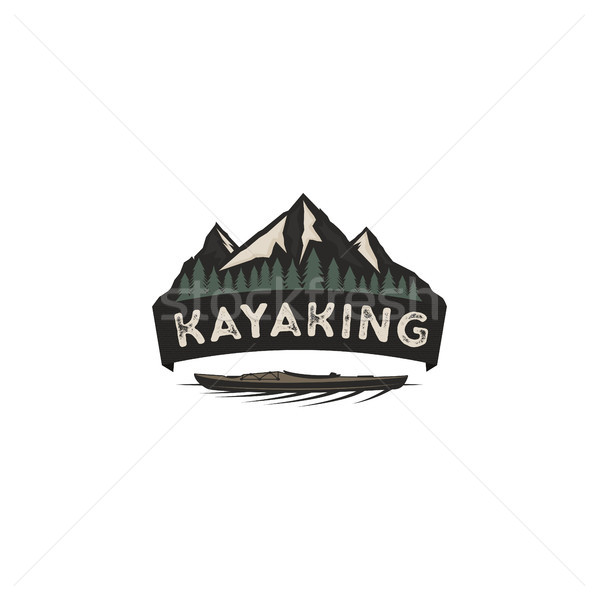 Kayaking vintage badge. Mountain explorer label. Outdoor adventure logo design. Wilderness, forest c Stock photo © JeksonGraphics