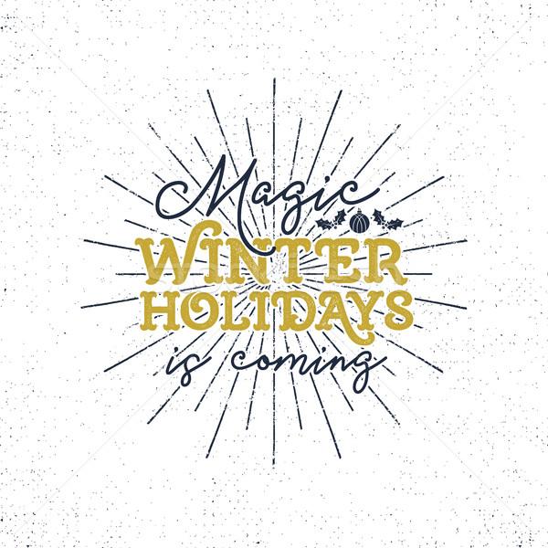 Foto stock: Magia · invierno · vacaciones · Navidad · tipografía · etiqueta