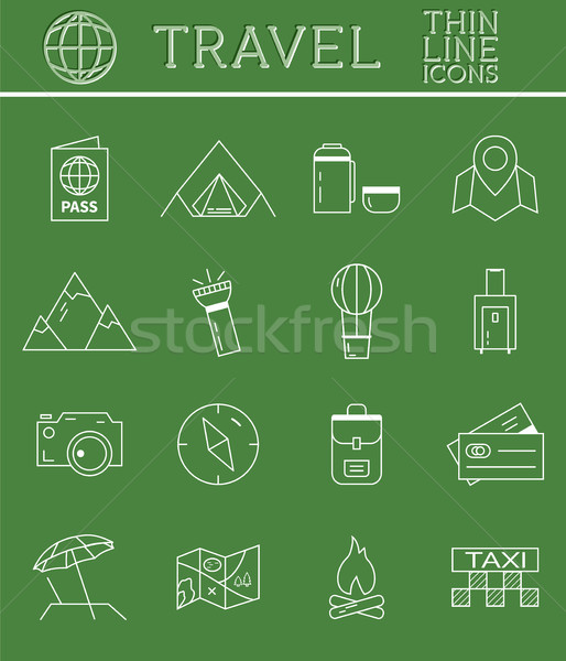 Outlined Holidays and Travels Icon Set Collection. Thin Line design. Camping and travel symbols and  Stock photo © JeksonGraphics