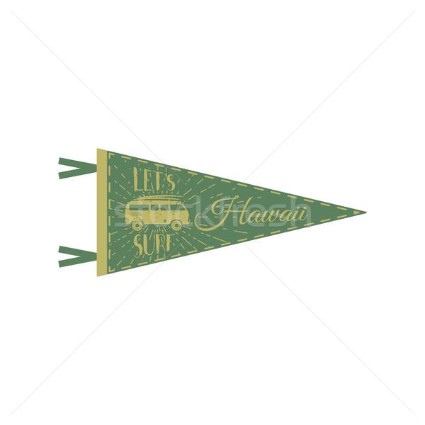 Hawaii pennant design. Campsite flag design. Retro tee design. Vintage van bus t-shirt design. Trave Stock photo © JeksonGraphics
