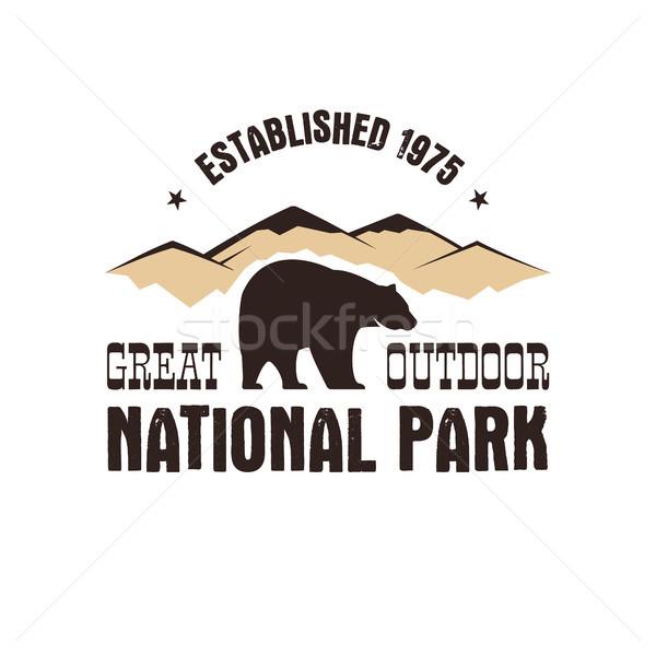 Parque estilo retro distintivo montanha explorador etiqueta Foto stock © JeksonGraphics