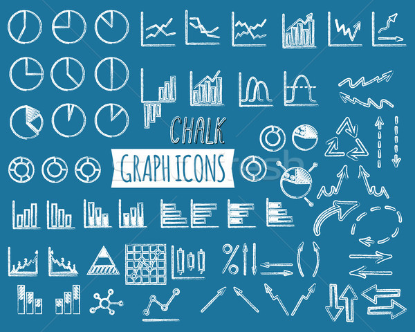 Business and office charts. Chal edition. Set of thin line graph icons. Outline. Can be used as elem Stock photo © JeksonGraphics