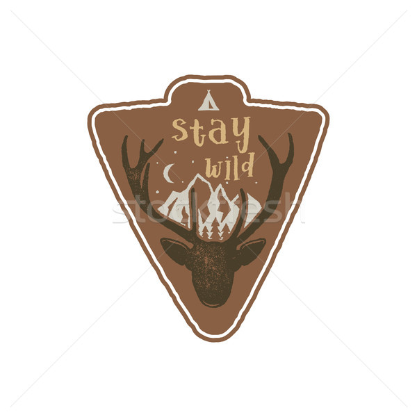 Hand drawn vintage camping badge and hiking label with wild animals design elements. Included deer h Stock photo © JeksonGraphics