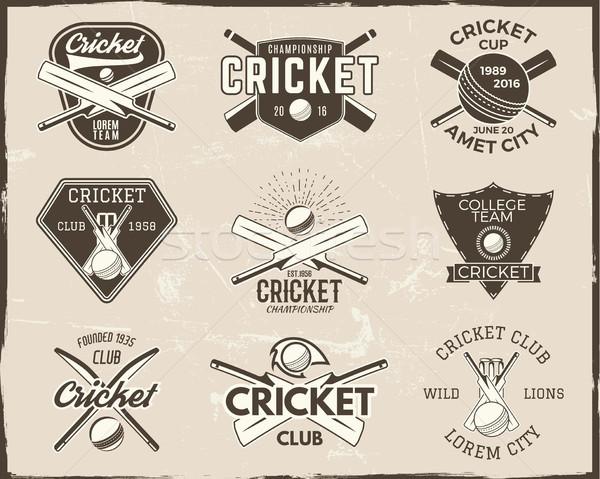 セット レトロな クリケット スポーツ テンプレート ロゴ ストックフォト © JeksonGraphics