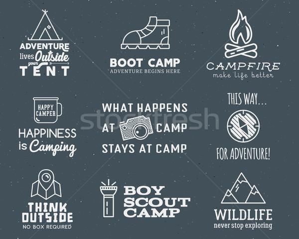Kempingezés logoterv szett tipográfia utazás elemek Stock fotó © JeksonGraphics