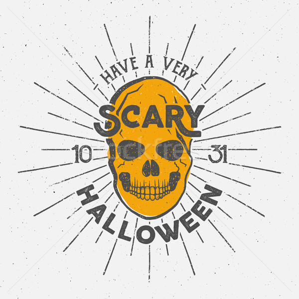 Halloween 2016 party label template with skull, sun bursts and typography elements. text with retro  Stock photo © JeksonGraphics
