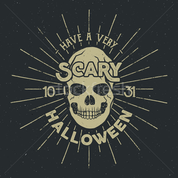 Halloween 2016 party label template with skull, sun bursts and typography elements on dark backgroun Stock photo © JeksonGraphics