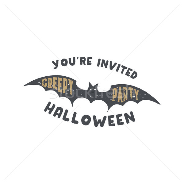 Happy Halloween badge. Vintage hand drawn logo design. Monochrome style. Typography elements and Hal Stock photo © JeksonGraphics