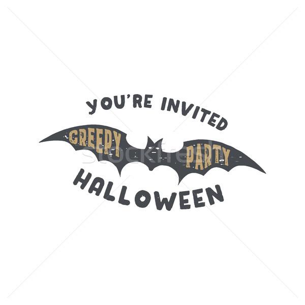 Feliz halloween distintivo vintage design de logotipo Foto stock © JeksonGraphics
