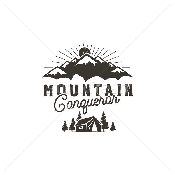 Traveling, outdoor badge. Scout camp emblem. Vintage hand drawn monochrome design. Mountain conquero Stock photo © JeksonGraphics