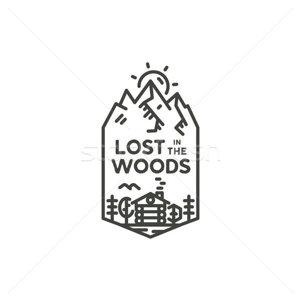 ヴィンテージ リニア 旅行 バッジ キャンプ 行 ストックフォト © JeksonGraphics